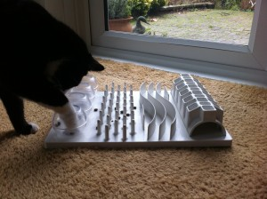 This Trixie Activity Board is a hit with Jonny the tester cat! He eats every meal out  of it to avoid getting fat!