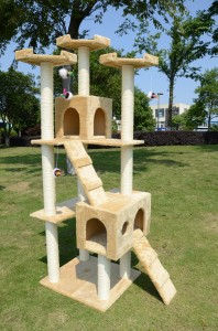 "Pawhut 71 Base 27"" x 23.75"" Height 70.5"" Similar to Leopet Cat Tree, a good spacious tree with aesthetic design at a bargain price"